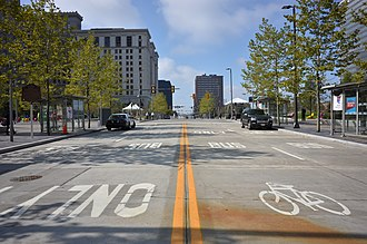 Public Square, Cleveland - Public Square in 2016 facing West on Superior Avenue's vehicle-free bus/bike lanes.