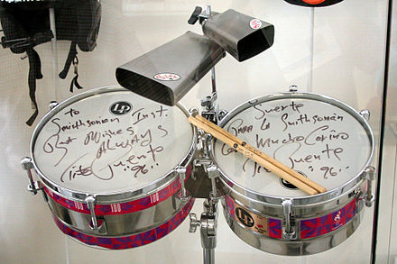 Timbales on display at the Smithsonian Puente timbales.JPG