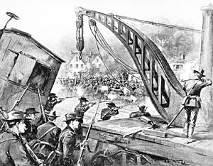 National Guard fires on Pullman strikers, from Harper's Weekly (1894)