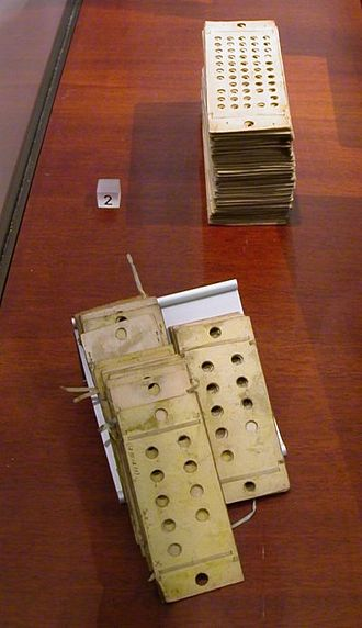 Analytical Engine - Two types of punched cards used to program the machine. Foreground: 'operational cards', for inputting instructions; background: 'variable cards', for inputting data