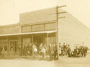 Pea Ridge, Arkansas - The cement block building that replaced J.J. Putnam's first general merchandise store, which burned, on the southeast corner of Pickens Road and Curtis Avenue in 1914.