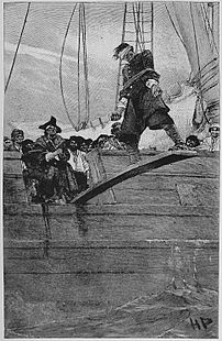Howard Pyle illustration of pirate walking the...