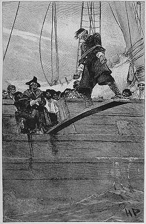 Walking the plank - Artist's conception of walking the plank (illustration by Howard Pyle for Harper's Magazine, 1887)