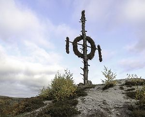 Sun cross - Questenbaum (Queste Tree) in Questenberg, an ancient pagan sun wheel