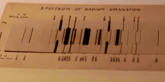 Radon - Emission spectrum of radon, photographed by Ernest Rutherford in 1908. Numbers at the side of the spectrum are wavelengths. The middle spectrum is of Radium emanation (radon), while the outer two are of helium (added to calibrate the wavelengths).