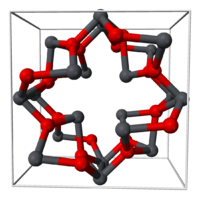 Stick-and-ball model of a unit cell of lead(II,IV) oxide