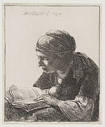 Rembrandt, A woman, reading, 1634 etching, Rijsmuseum Amsterdam.jpg