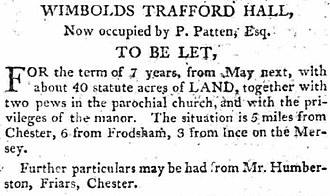 Trafford Hall - Rental notice for Trafford Hall in 1806.
