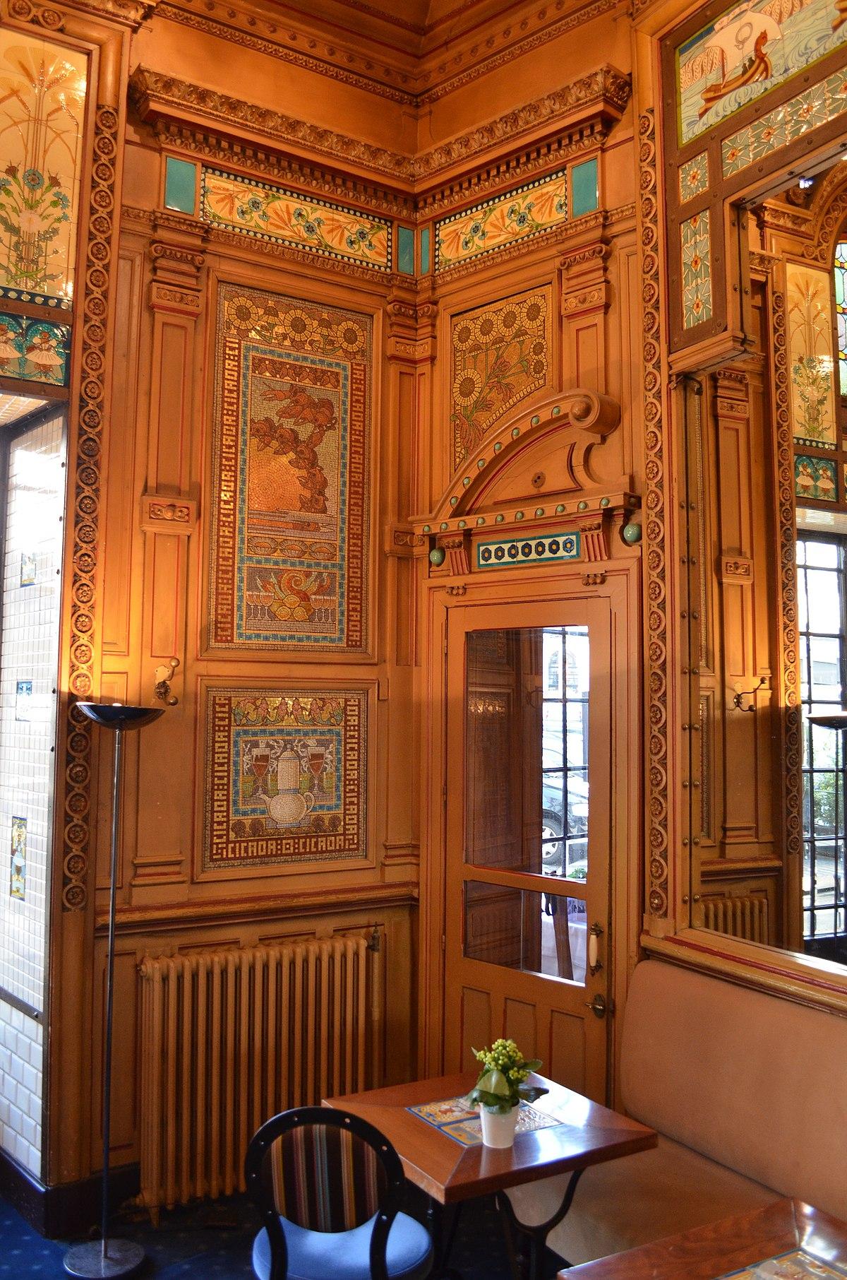 File:Restaurant La Cigale - déco intérieure Art Nouveau ...