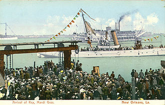 Mardi Gras in New Orleans - Arrival of Rex, monarch of Mardi Gras, as seen on an early 20th-century postcard