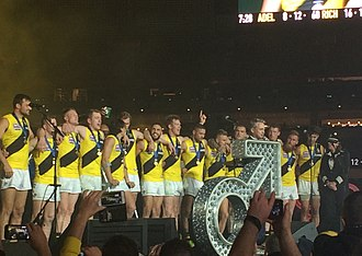 2017 AFL Grand Final - Richmond players celebrate on stage following the 2017 AFL Grand Final