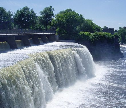 The Rideau Falls in Ottawa, where the Rideau River tumbles into Ottawa River at its mouth. Rideau Falls.JPG