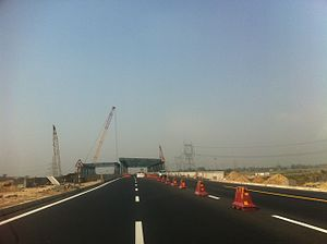 Agra Lucknow Expressway - As of early March 2017, one side of the rail over bridge at Bhadan is still under construction