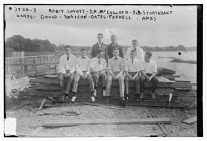 F. Trubee Davison - Robert Abercrombie Lovett (1895-1986), David H. McCullough (1886-?), Albert Dillon Sturtevant (1894-1918), John Martin Vorys (1896-1968), Rear Admiral Erl Clinton Barker Gould (1895-1968), Frederick Trubee Davison (1896-1974), Artemus Lamb Gates (1895–1976), John Villiers Farwell III (1895-1992), and Allan Wallace Ames (1893-1966) in July 1916 at Port Washington, New York.