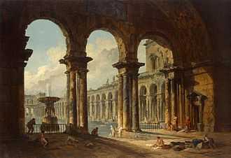 Public bathing - Ancient Ruins Used as Public Baths by Hubert Robert (1798)