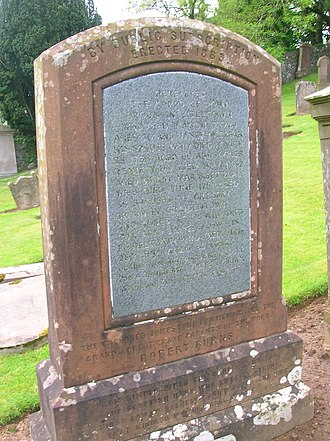 Agnes Broun - The restored headstone of Agnes' father and grandfather at Kirkoswald.