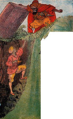 Aladdin - The Sorcerer traps Aladdin in the magic cave.