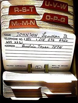 Rolodex of Levi Eshkol shown phone of LB Johnson
