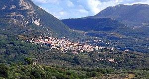 Roscigno - Panoramic view of Roscigno showing also Roscigno Vecchia (below in the right corner)