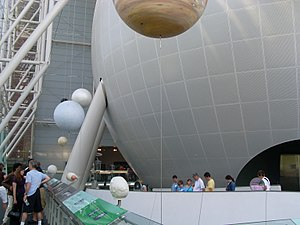 Rose Center for Earth and Space - Back to front: the Hayden Sphere, the Heilbrun Cosmic Pathway, and the Scales of the Universe exhibit.