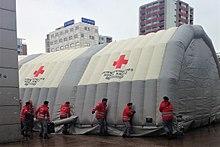 Erstaufnahme-Notzelt des Österreichischen Rotes Kreuzes am Salzburger Hauptbahnhof