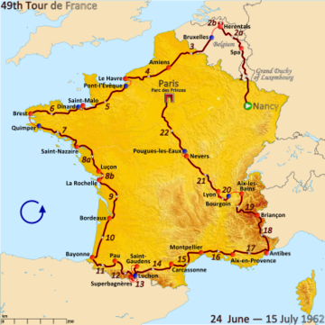 Map of France showing the path of the race starting in Nancy, moving through Luxembourg and Belgium, before an anticlockwise route around France and finishing in Paris