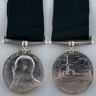 Reserve Long Service and Good Conduct Medal - King Edward VII version with original all-green ribbon