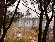 Royal Palace of Madrid rear view from West Park or Parque del Oeste myspanishexperience com