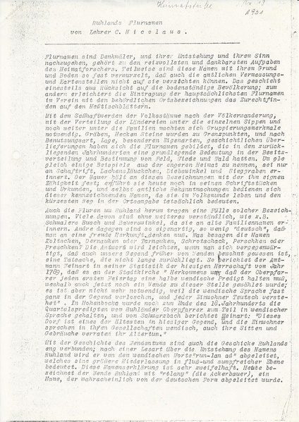 File:Ruhlands Flurnamen Aufsatz von Lehrer C. Nicolaus, Ruhland 1931.pdf