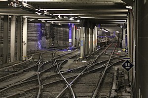 Berlin Nord-Süd Tunnel - Tunnel just north of Potsdamer Platz station with the reversal and staging yard in the centre