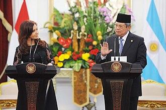 Argentina–Indonesia relations - President Yudhoyono and Cristina de Kirchner in Istana Merdeka, Jakarta, 17 January 2013