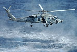 Sikorsky SH-60 Seahawk - An HH-60H Seahawk deploying a SAR swimmer