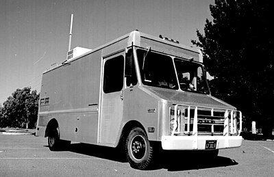 A Stanford Research Institute's Packet Radio Van, site of the first three-way internetworked transmission. SRI Packet Radio Van.jpg