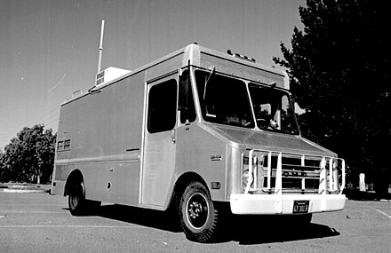The Packet Radio Van, developed by Don Cone, was the site of the first three-way internetworked transmission. SRI Packet Radio Van.jpg