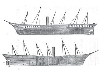 SS Great Britain - Sketch of Great Britain. The lower image shows the internal arrangement of her decks and machinery.