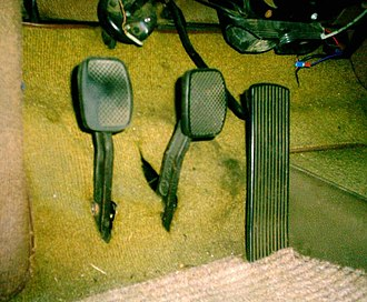 Car controls - Standing pedals in a Saab Sonett. From left to right: clutch, brake, throttle.