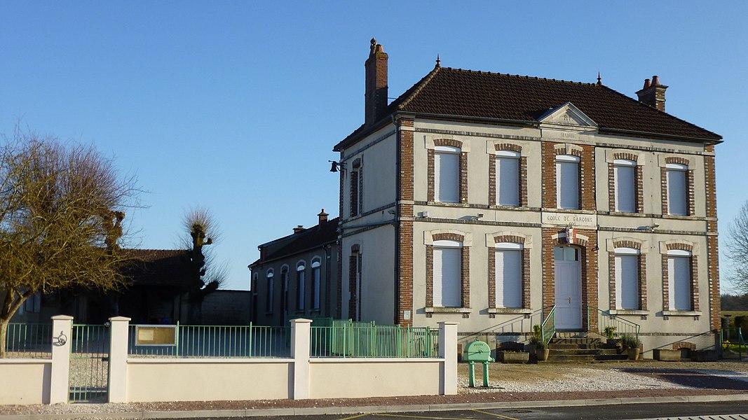 Saint-Loup-d'Ordon, Yonne, Burgundy, France. Town hall and school yard.
