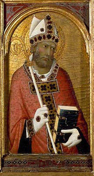 Fitzwilliam Museum - Saint Geminianus, from a pentaptych by Simone Martini (c.1284–1344).