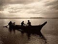 Salish Indians in a canoe on Puget Sound, North America. Wellcome V0038489.jpg