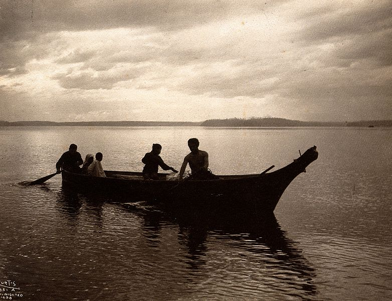 File:Salish Indians in a canoe on Puget Sound, North America. Wellcome V0038489.jpg