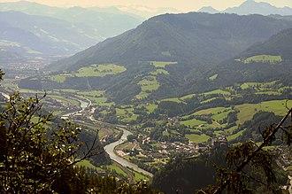 Salzburg Slate Alps - Salzach valley with Burg Hohenwerfen