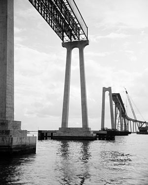 San Diego–Coronado Bridge - Waterline view of bridge construction, c.1968