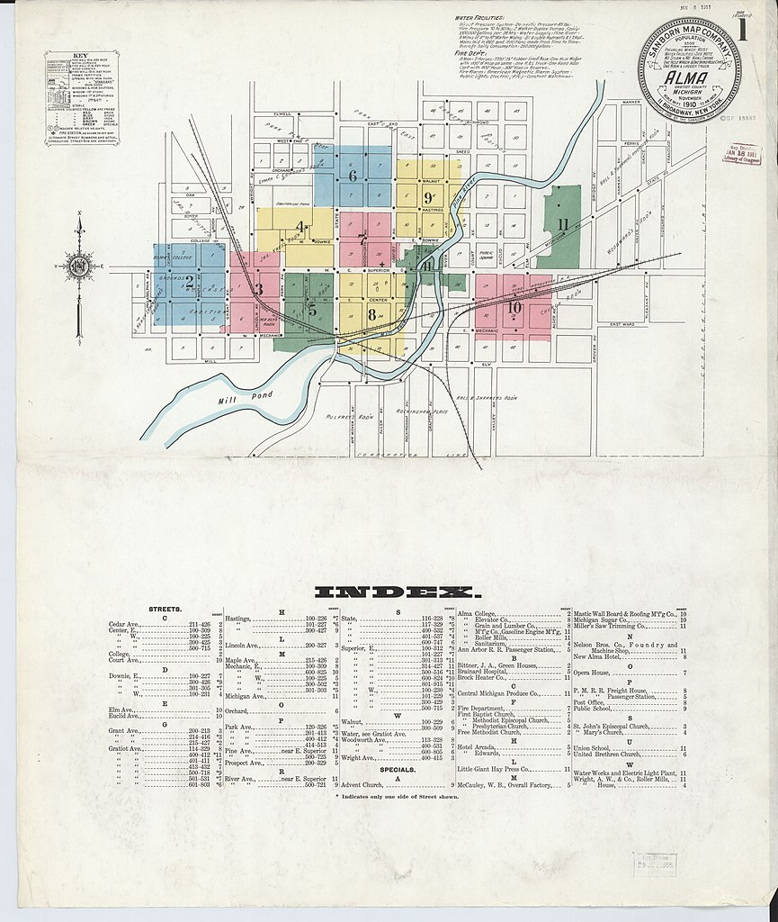 File Sanborn Fire Insurance Map from Alma Gratiot County Michigan