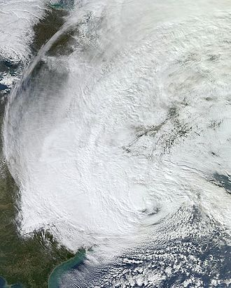 Meteorological history of Hurricane Sandy - Hurricane Sandy off the east coast a few hours before landfall on October 29
