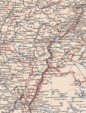 Saratov Governorate - Map of Saratov Governorate, 1896.