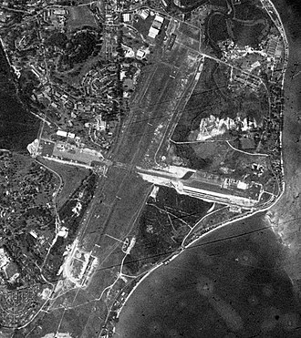 Changi Air Base - A satellite image of RAF Changi taken during the United States Department of Defense's Corona KH-4 reconnaissance satellite programme on 2 April 1963 (Singapore time)