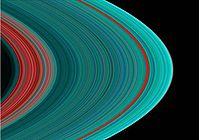 Imagen que ofrece una observación ultravioleta de los anillos de Saturno. Esta reveladora imagen fue obtenida por la sonda Cassini-Huygens.