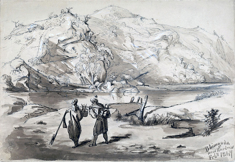 Scene at Bhimgoda near Haridwar , February 1847.jpg