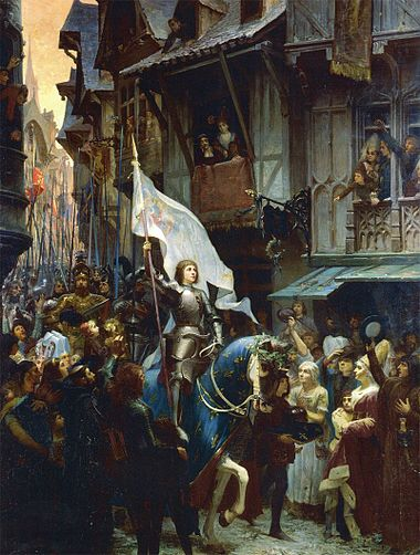 Joan of Arc enters Orleans (painting by J.J. Sherer, 1887). Joan was canonized by Pope Benedict XV in 1920. Scherrer jeanne enters orlean.jpg