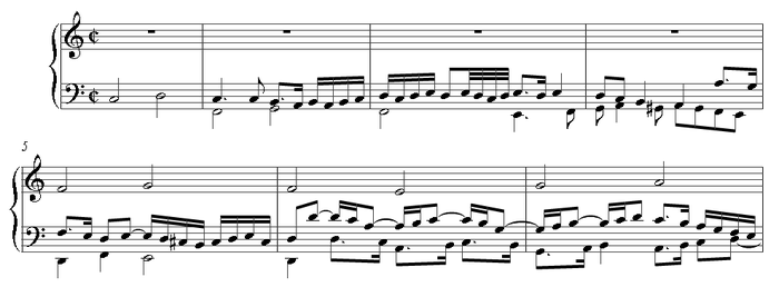 First bars of Schlick's Eya ergo: an early example of fore-imitation in keyboard music.